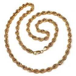 Cordón cadena oro 18k salomónico 60cm. normal 5mm. [AA1575]