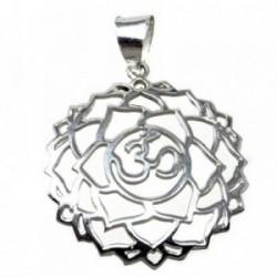 Colgante plata Ley 925m rosetón símbolo OM [AB4953]