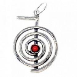 Colgante plata Ley 925m símbolo chokurei piedra color rojo [AB4960]
