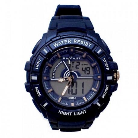 Reloj Radiant hombre New Rush RA438602 digital azul correa silicona