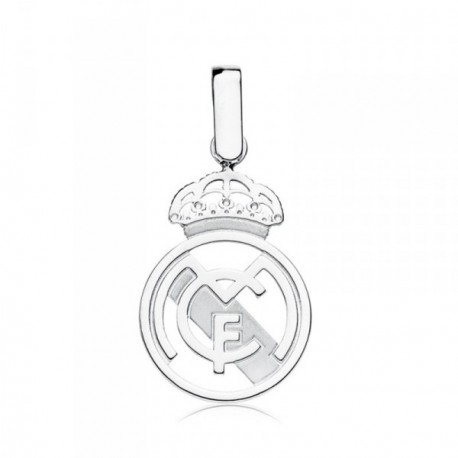 Colgante escudo Real Madrid oro blanco ley 9k calado [AB4593]