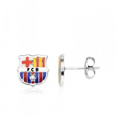 Pendientes escudo F.C. Barcelona oro blanco ley 9k [AB4600]