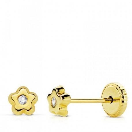 Pendientes oro 18k flor 4mm. centro circonita [AB4608]