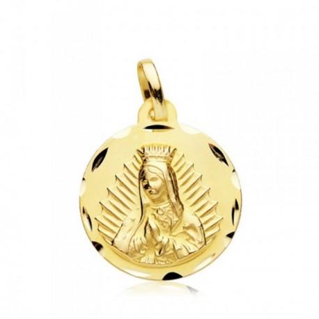 Medalla oro 18k Virgen Guadalupe 18mm. bisel [AB4621]