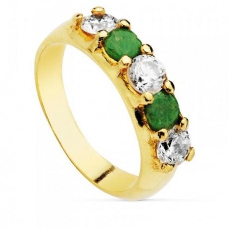Sortija oro 18k quintillo circonitas verdes blancas 4.5mm. [AB4622]
