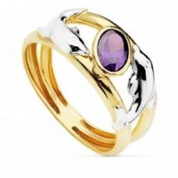 Sortija oro 18k bicolor delfines centro piedra color violeta [AB4626]
