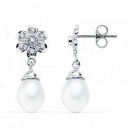 Pendientes oro blanco 18k largos perlas 23mm. circonitas [AB4631]
