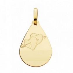 Medalla oro 18k gota corazones flecha 21mm. [AB4640]