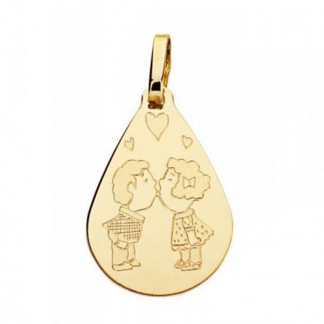 Medalla oro 18k gota pareja 21mm. [AB4641]