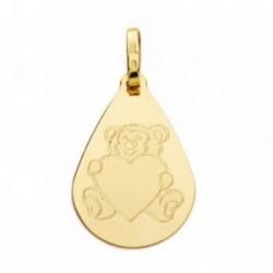 Medalla oro 18k gota oso corazón 21mm. [AB4642]