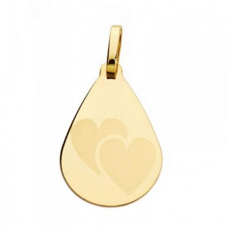 Medalla oro 18k gota corazones 21mm. [AB4643]