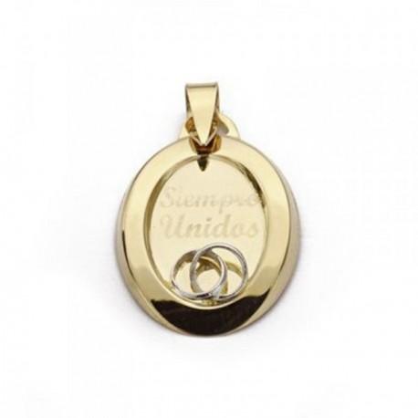 Colgante oro 18k bicolor oval - siempre unidos - 22mm. [AB4644]