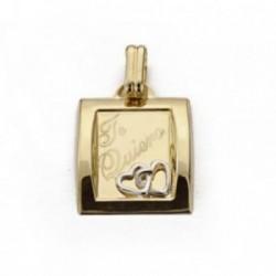 Colgante oro 18k bicolor cuadrado - te quiero - 19mm. [AB4645GR]
