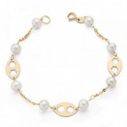 Pulsera oro 18k comunión 17.5mm. perlas 5.5mm flores caladas [AB4647]