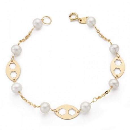 Pulsera oro 18k primera comunión 17.5cm. perlas 5.5mm cultivadas chapas ovales flores caladas niña