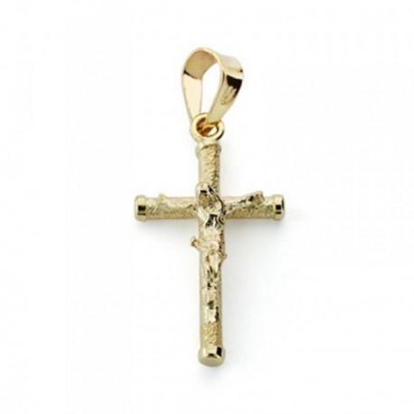 Cruz crucifijo oro 18k diamantada 19mm. chatones [AB4648]