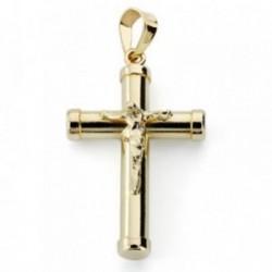 Cruz crucifijo oro 18k hueca 24mm. chatones [AB4649]