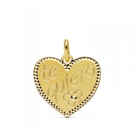 Colgante oro 18k corazón - te quiero - flor 16mm. [AB4651]