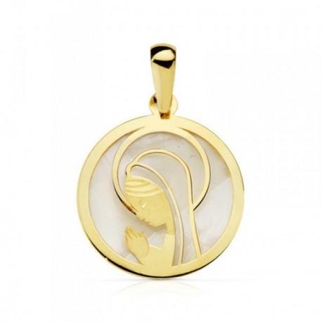 Medalla oro 18k nácar Virgen Niña aureola redonda 17mm. [AB4654]