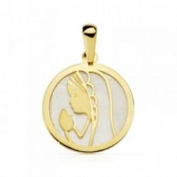 Medalla oro 18k nácar Virgen Niña redonda 17mm. [AB4655]