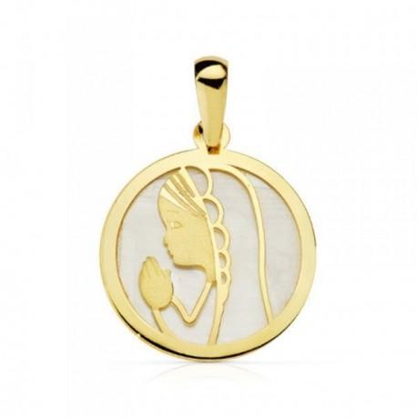 Medalla oro 18k fonde nácar Virgen Niña redonda 17mm. bisel liso