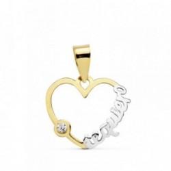 Colgante oro 18k bicolor corazón calado - te quiero - 16mm. [AB4657]