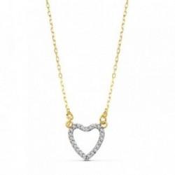 Colgante gargantilla oro 18k corazón calado 10mm. 42cm. [AB4661]