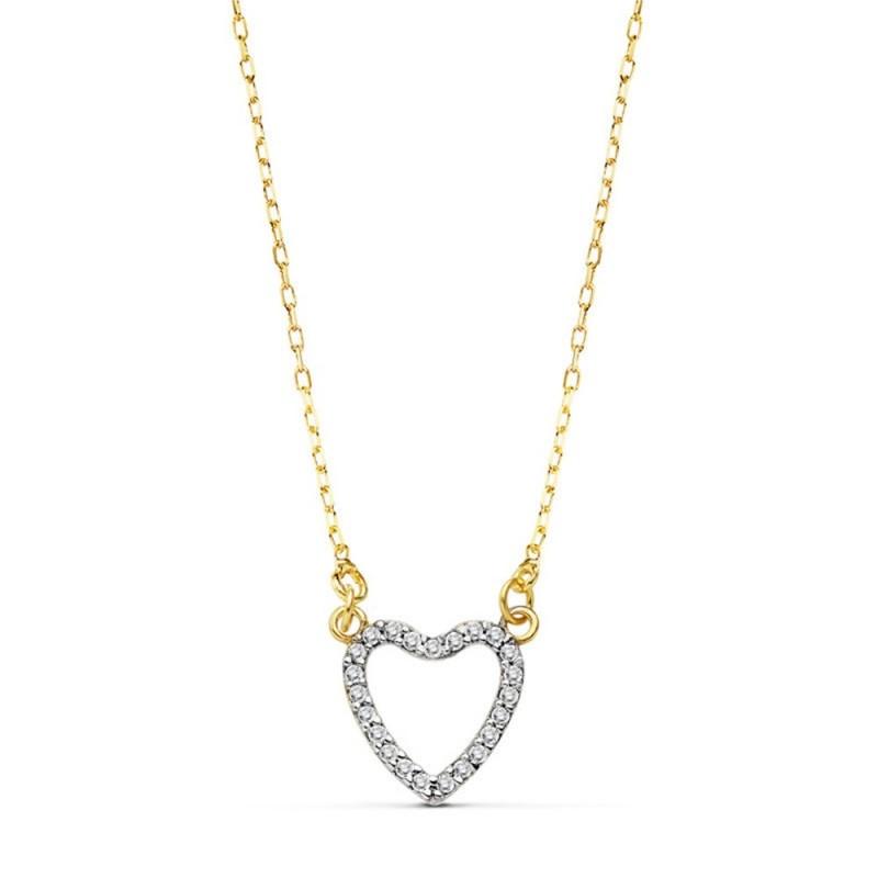 bc735e9ce7ea Colgante gargantilla oro 18k corazón calado 10mm. 42cm.  AB4661