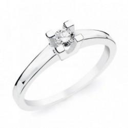 Solitario oro blanco 18k diamante brillante 0.150ct. [AB4664]