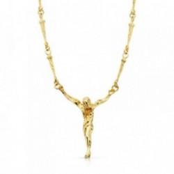 Colgante crucifijo oro 18k Cristo Dalí cadena clavos 50cm [AB4665]