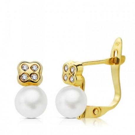 Pendientes oro 18k primera comunión perla 5mm. circonitas [AB4670]