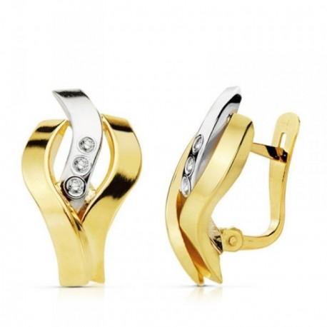 Pendientes oro 18k bicolor bandas circonitas 17mm. [AB4681]