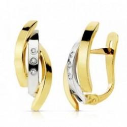 Pendientes oro 18k bicolor bandas circonitas 18mm. [AB4682]
