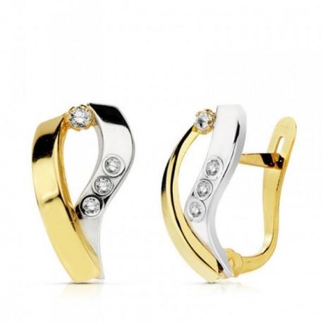 Pendientes oro 18k bicolor bandas curvas circonitas 15mm. [AB4683]