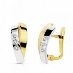 Pendientes oro 18k bicolor bandas circonitas 15mm. [AB4684]