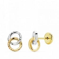 Pendientes oro 18k bicolor aros tallados [AB4699]
