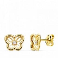 Pendientes oro 18k mariposa calada 8mm. centro circonita [AB4702]