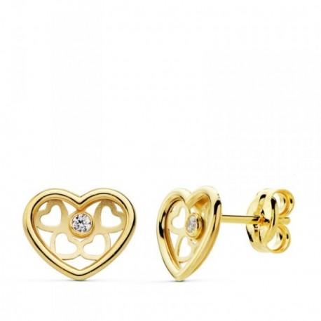 Pendientes oro 18k corazón calado 8mm. centro circonita [AB4703]