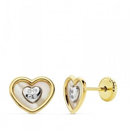 Pendientes oro 18k bicolor corazón nácar circonitas [AB4710]