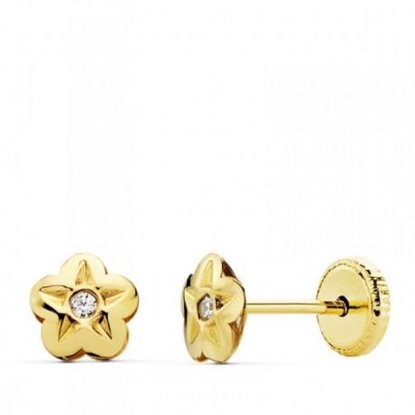 Pendientes oro 18k flor 5mm. centro circonita [AB4714]