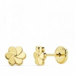 Pendientes oro 18k flor pétalos 6mm. niña cierre tuerca