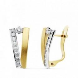 Pendientes oro 18k bicolor bandas 13mm. circonitas [AB4728]