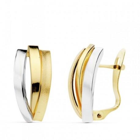 Pendientes oro 18k bicolor bandas 16mm. lisas [AB4729]