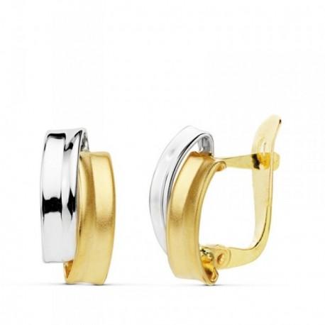Pendientes oro 18k bicolor bandas 13mm. lisas [AB4730]