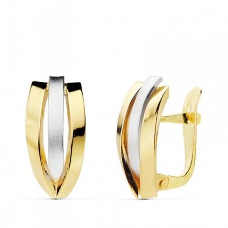 Pendientes oro 18k bicolor bandas alternas 16mm. lisas [AB4731]