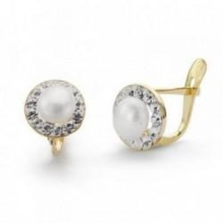 Pendientes oro 18k primera comunión 8mm. centro perla cultivada cerco circonitas niña