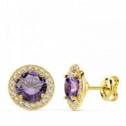 Pendientes oro 18k 9mm. centro piedra color violeta [AB4751]