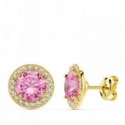 Pendientes oro 18k 9mm. centro piedra rosa circonitas [AB4752]