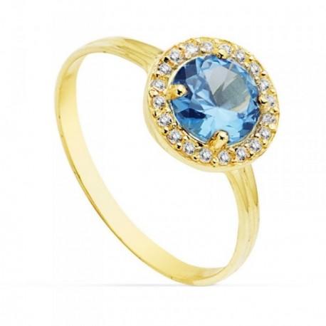 Sortija oro 18k 9mm. centro piedra azul circonitas [AB4753]