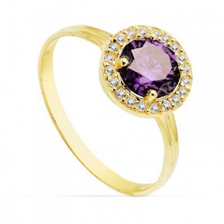 Sortija oro 18k 9mm. centro piedra color violeta circonitas [AB4754]